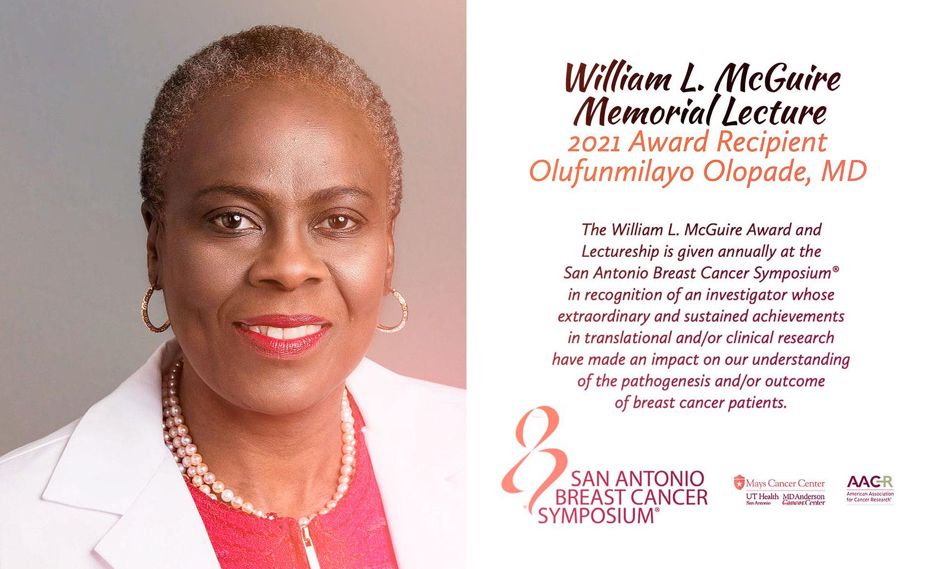 Dra. Olufunmilayo Olopade receberá prêmio este ano no próximo San Antonio Breast Cancer Symposium