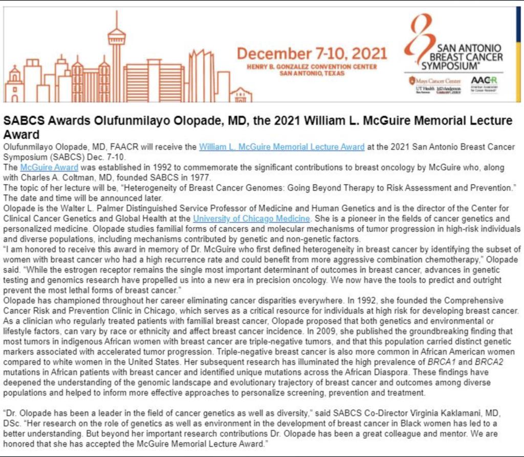 William L. McGuire Memorial Lecture - 2021 Award Recipient Olufunmilayo Olopade, MD